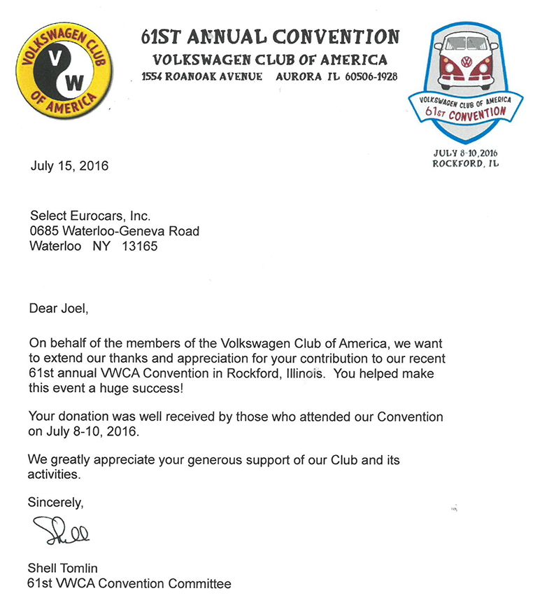 Select EuroCars, Inc Supports The Volkswagen Club of America